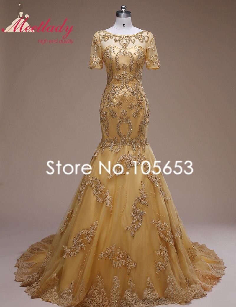 Leeymon Luxury Short Sleeves Wedding Dress Gold Beaded Wedding Gown ...