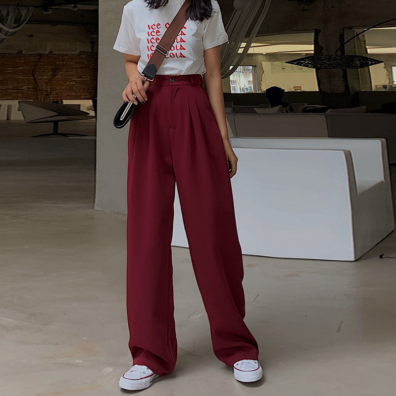 Oxdra Spring Autumn Hot Women High Waist   Pants   Loose Solid   Wide     Leg     Pants   Ladies Stylish Trousers 2019 New
