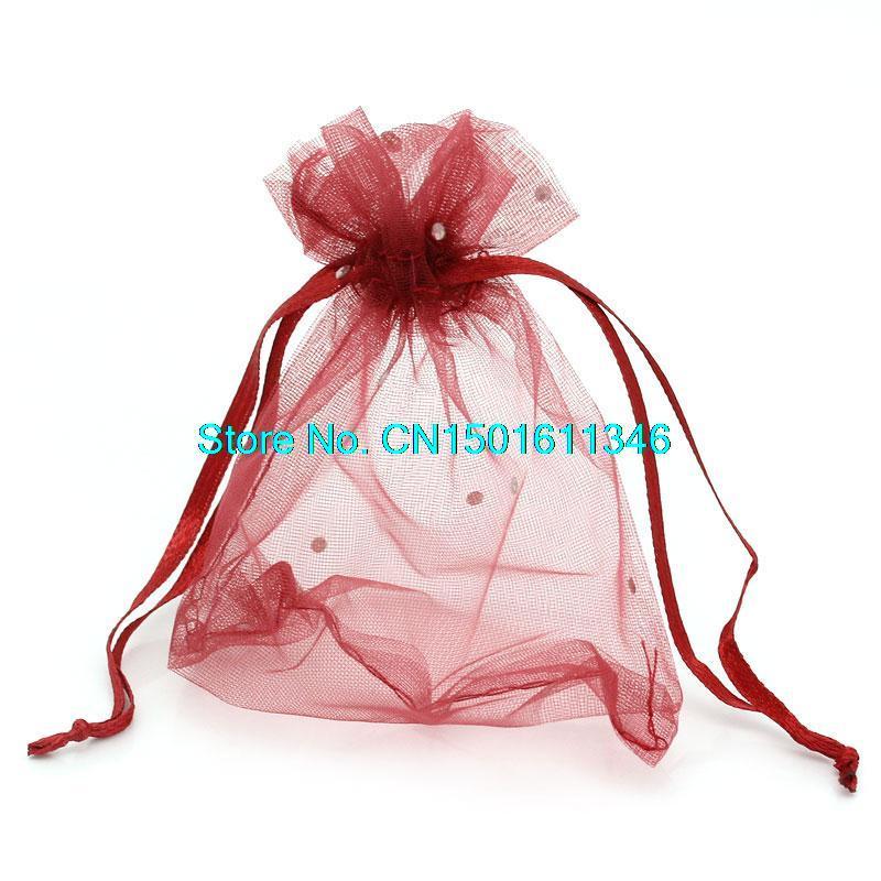 327510a13 100 unids Organza del vino rojo bolsas, 3 x 4 pulgadas tela transparente  bolsos del favor, para favores, borgoña, Maroon en Joyería Packaging &  Display de ...