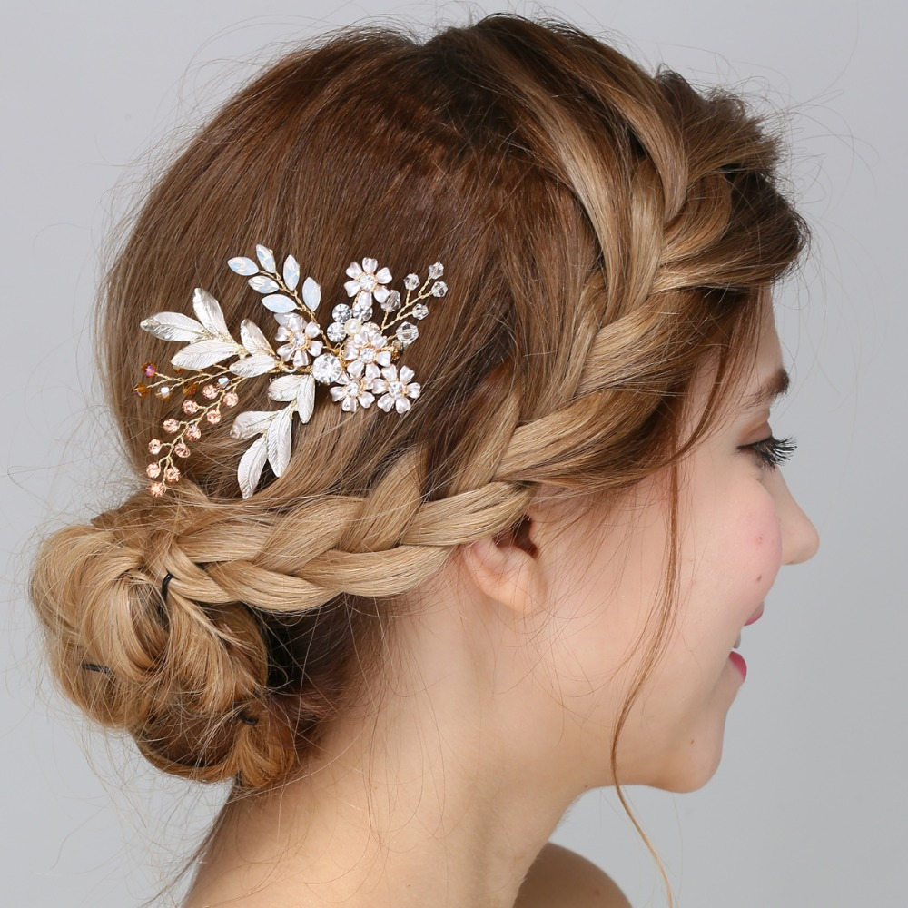 aliexpress : buy gold floral hair comb bridal fascinator garden floral headpiece wedding hair accessories from reliable hair accessories suppliers