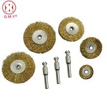 все цены на Flat Brass Wire Wheel Brush Electric Drill Grinding Mill Polishing Wheel Shank Diameter 6.35mm онлайн