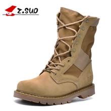 Z. suo/Высокое качество Женская парусиновая Военное Дело армейские до середины икры высокие сапоги черный песок женщина открытый DERSERT рабочие Сапоги и ботинки ZS988