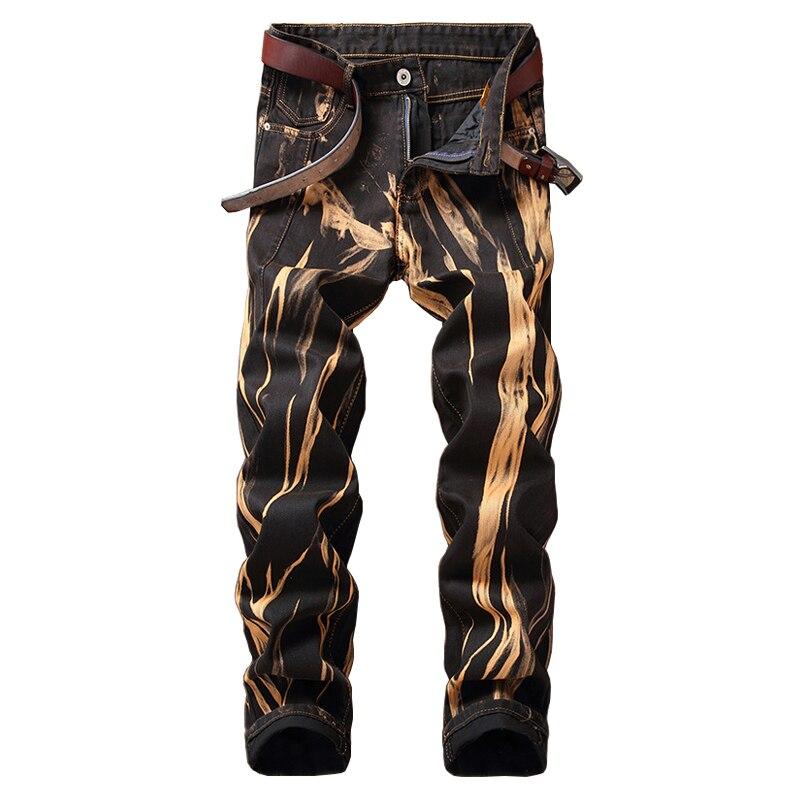 ABOORUN 2018 Mens Printed Jeans Vintage Distressed Straight fit Denim Pants Hip Hop Mens Denim Joggers YC1237