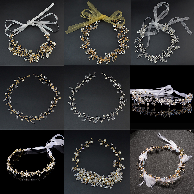 6 Gaya Mewah Crystal Pearl Wedding Headpiece Pengantin Headband Ribbon Tiara Headband Hairpiece Tiaras Aksesori Rambut