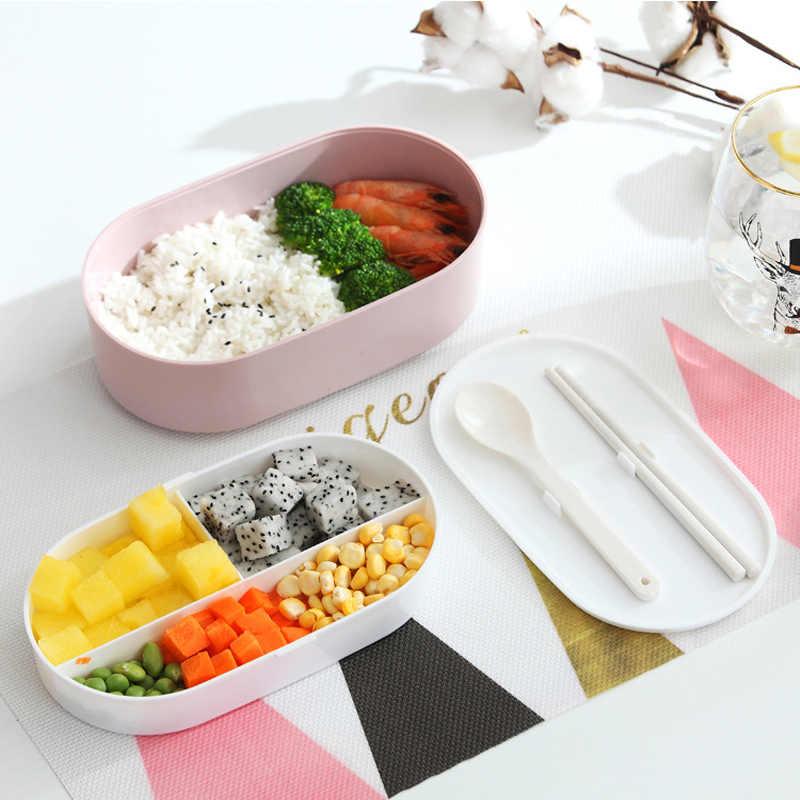 Oval Caixa de Microondas Almoço Bento Caixa De Imitação de madeira Crianças Piquenique Da Escola Portátil de Armazenamento Recipiente de Alimento 800ml