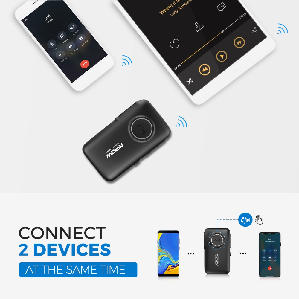 VicTsing Bluetooth Receiver 5.0 Car Adapter Kit CSR Bluetooth Receiver Transmitter 16 Hours Aux Adapter Audio Hands-Free Calls   (1)
