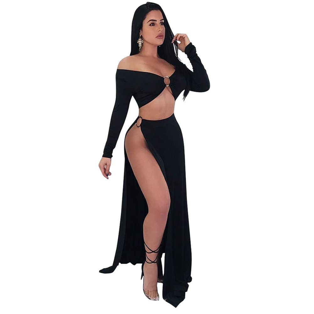 Sexy 2 Two Piece Set Women Open Side Skirt Suits Set Off The Shoulder Cropped Top High Cut Slit Night Club Party 2PCS Set Summer