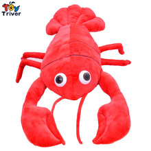 Creative Plush 3D Simulation Lobster Pillow Cushion Toys Stuffed Doll Kids Baby Birthday Christmas Wedding Gift Present Triver