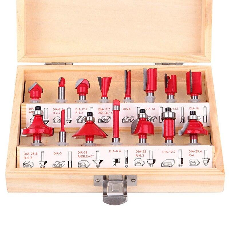 15 unids/set carpintería Cutters 1/4 ''/8mm/1/2'' Shank carburo router bit para cortador de madera grabado Cúter Herramientas