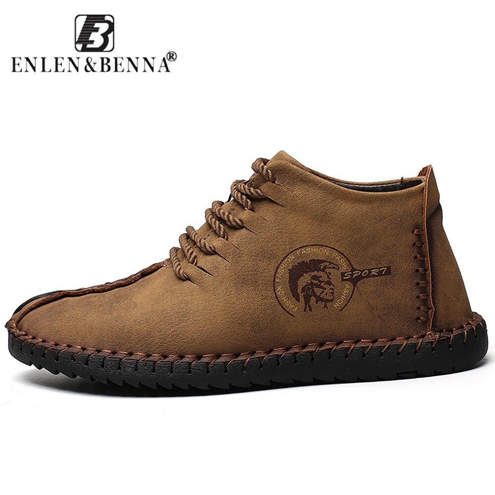 2018 zapatos de cuero de moda de los hombres la Handtailor Vintage zapatillas Huarache mocasines antideslizante Super caliente pisos negro Tallas grandes 46