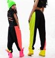 Adultos crianças Harem Dança Hip Hop Calças Moletom Trajes femininos desgaste estágio Desempenho Jazz Neon calças