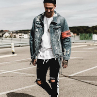 Men's Jean jacket Streetwear Hip Hop Flight Jacket Denim Jacket Men Brand Ripped Denim Jacket Casual Fashion Jacket Men