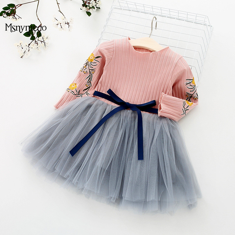 Infant Baby Girls Dresses 2018 New Brand Princess Girl Clothes Bowknot Long Sleeve Party Dress For 0-2 Years vestido infantil
