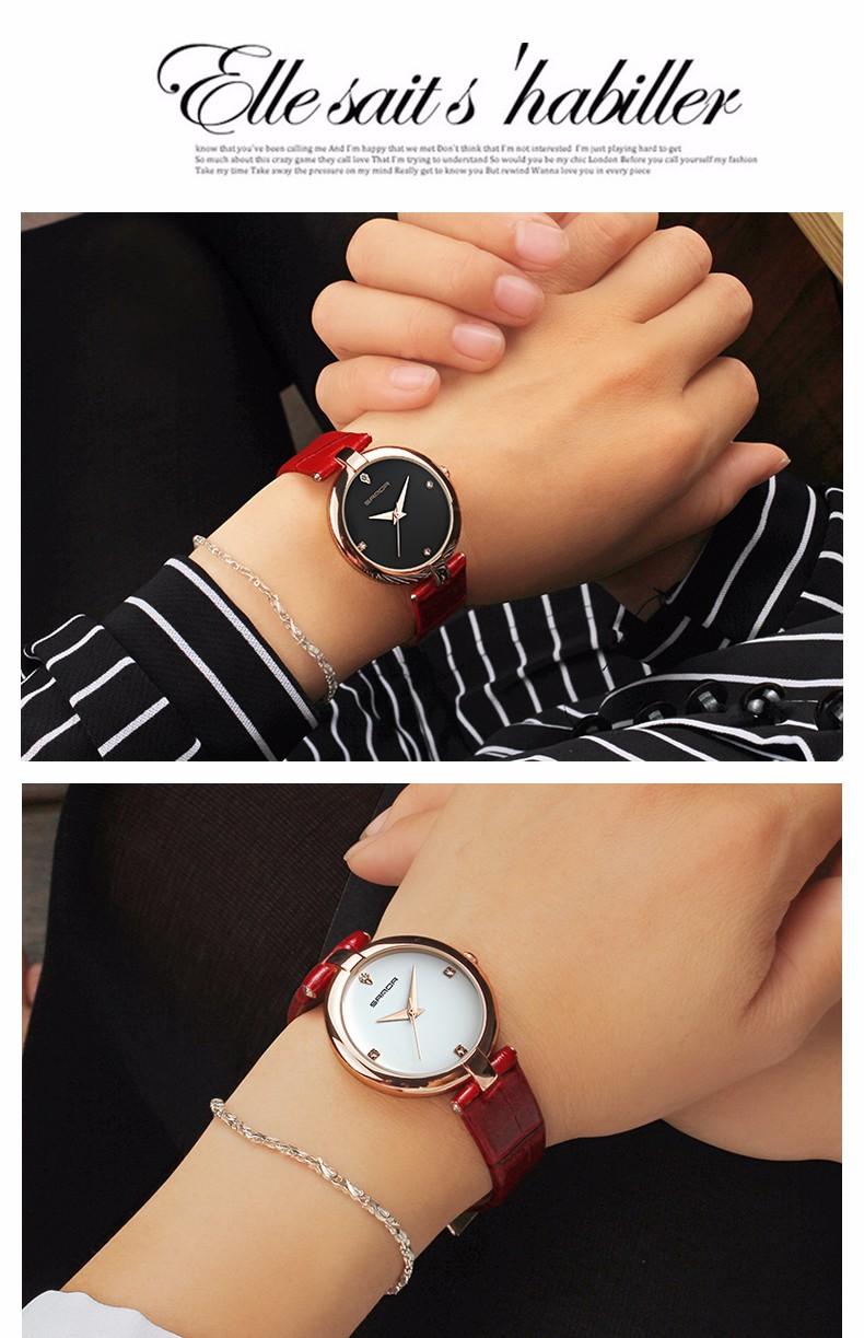 6 Montres à Quartz bracelet en cuir mode chic pour femmes