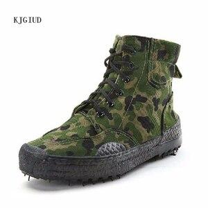 Image 2 - Мужская модная повседневная камуфляжная обувь 2019, Мужская обувь из каучуковой резины для освобождения труда, высокая Спортивная парусиновая обувь в джунглях