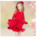 2015 Spring Summer Girls Red Lace Dress Cotton Three Quarter FlareSleeve Dress Children's Clothing Europe Evening Dresses