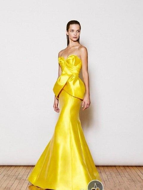 Freeshipping Mermaid Sleeveless Gold Yellow Satin Evening Dress-in ...