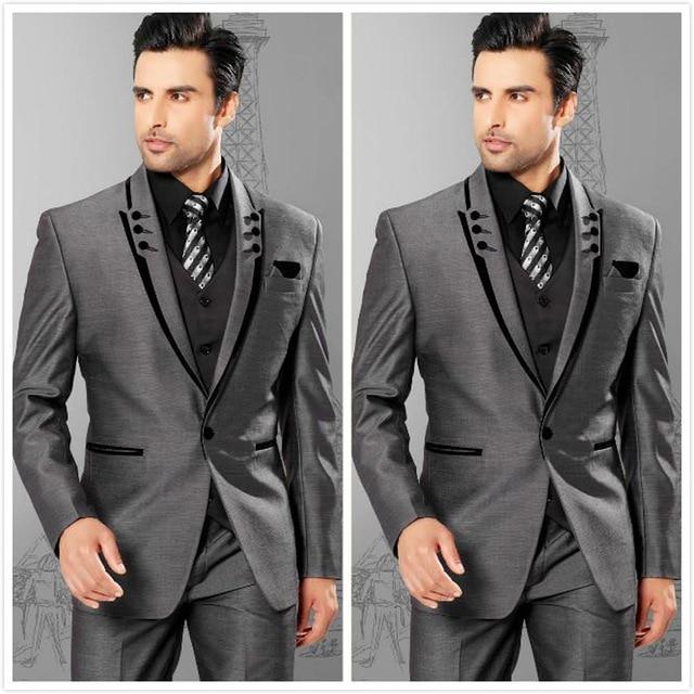 Men Suits Slim Fit Peaked Lapel Grey Groom Tuxedos Mens Wedding ...