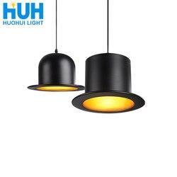 Ретро подвесной светильник, Джазовый Топ, шляпа, алюминиевая Подвесная лампа, 110 В, 220 В, E27, снаружи, черный, внутри, золотой, барная стойка, лам...