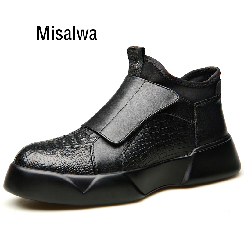 Misalwa Crocodile Pattern Boots Men 4 CM Elevator Shoes Anti-skid Young Men Fashion Sock Boots Casual Leather Sneakers 2019