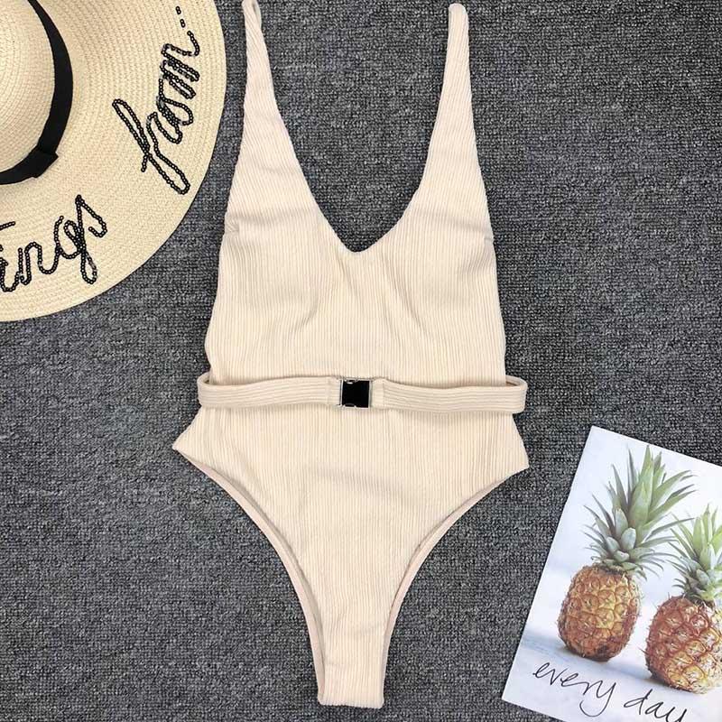 Одноцветный купальный костюм с бретельками, модель 2020 года, сексуальный купальник для женщин, с поясом, с высокой посадкой, пляжная одежда, u-... 36