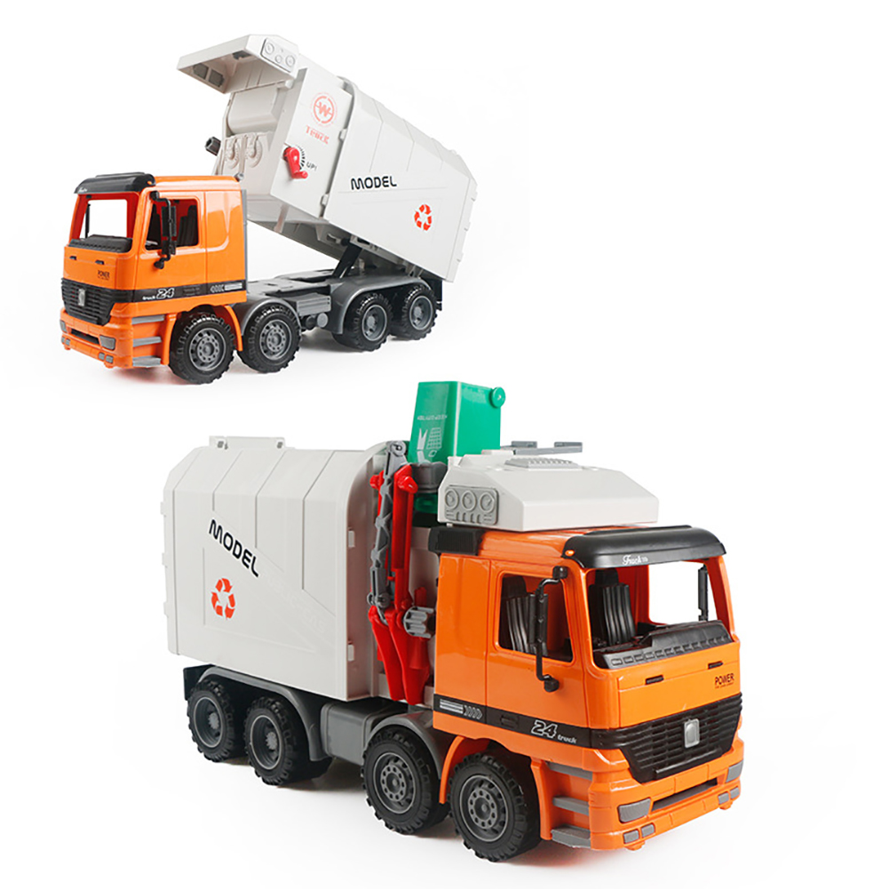 Friction Powered Recycling Garbage Truck Kids Toy With Side Loading Back Dump Kids Collecting Toys Transporter Vehicle Model Toy