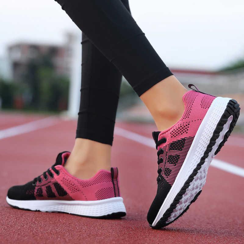 Kadın rahat ayakkabılar moda nefes yürüyüş örgü Lace Up düz ayakkabı ayakkabı kadın 2019 Tenis Feminino pembe siyah beyaz