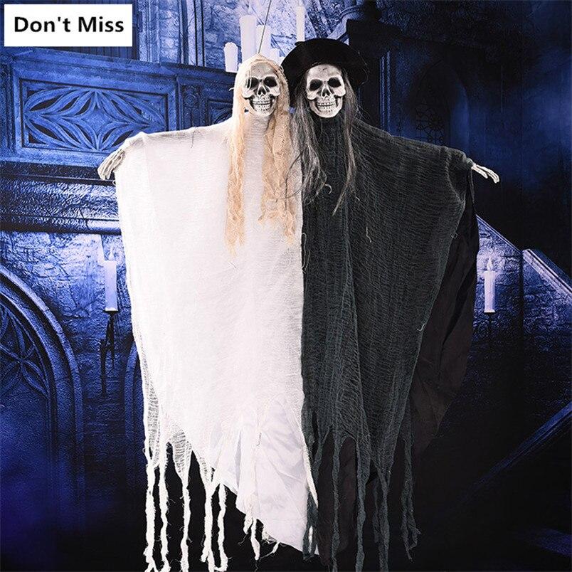 Halloween Hnging fantôme horreur suspendus crâne grande taille jouets électriques effrayer la voix brillant yeux Halloween décoration salle évasion