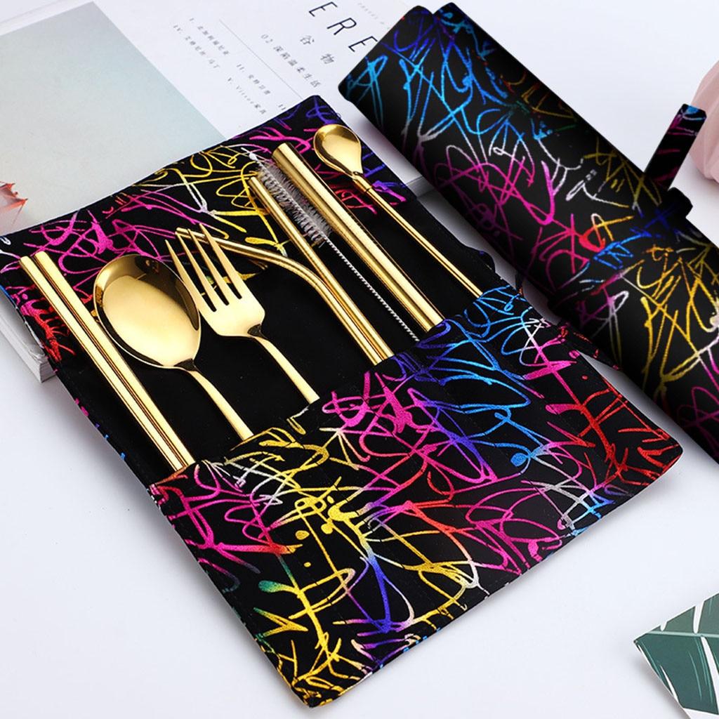 7PCS Set Stainless Steel Upscale Dinnerware Flatware Cutlery Fork Spoon Teaspoon Kitchen products Multicolor cutlery set #19729