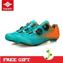 SANTIC уровень 10 углерода волокно Сверхлегкий Вело обувь Road Велосипедный спорт Спортивная для мужчин Pro Racing Zapatillas Ciclismo велосипед обувь 2017