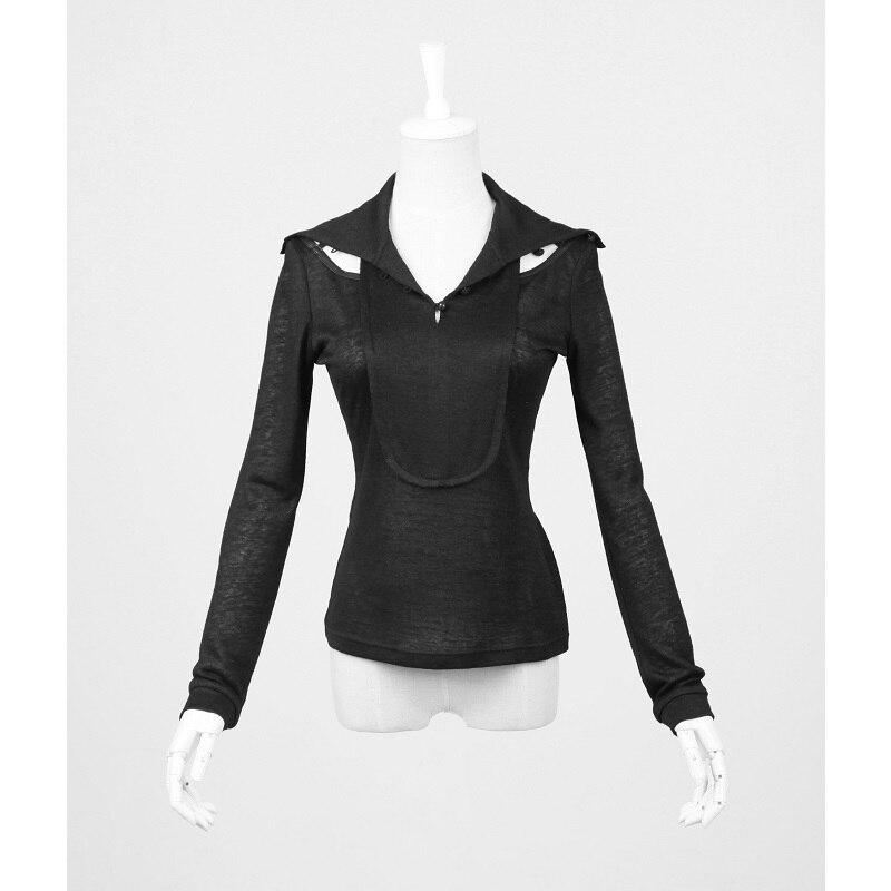 Punk personnalité tricoté à manches longues T-Shirt pour les femmes gothique dos évider décadent T-Shirt noir Slim-ajustement hauts