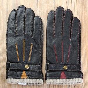 Image 2 - Новые осенние мужские кожаные перчатки, роскошные высококачественные модные брендовые теплые кожаные перчатки из овчины, мужские перчатки для вождения, бесплатная доставка