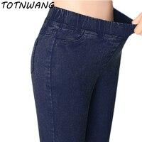 زائد حجم ساحات تقليد جينز السراويل النساء 2018 الربيع الصيف مرونة الخصر السراويل السيدات خمر رصاص سليم نحيل الجينز