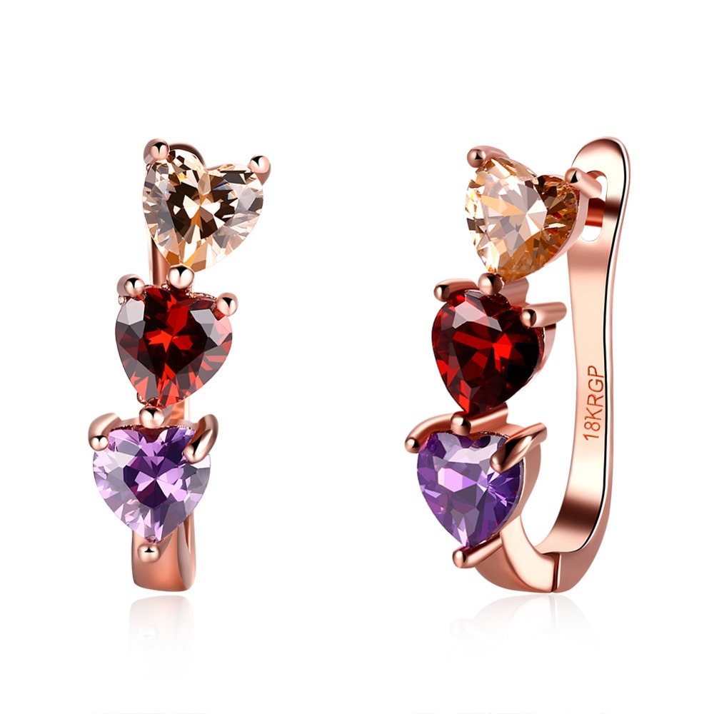 PE125 Rainbow color Heart CZ Earrings for women 2016 latest Fashion Gold Colour Quality jewelry
