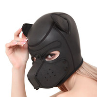 Fetish Slave Punishes Dog Headgear PU Leather Sponge Breathable BDSM Bondage Breathable Sex Mask With Plug Hood Toys Adult Games
