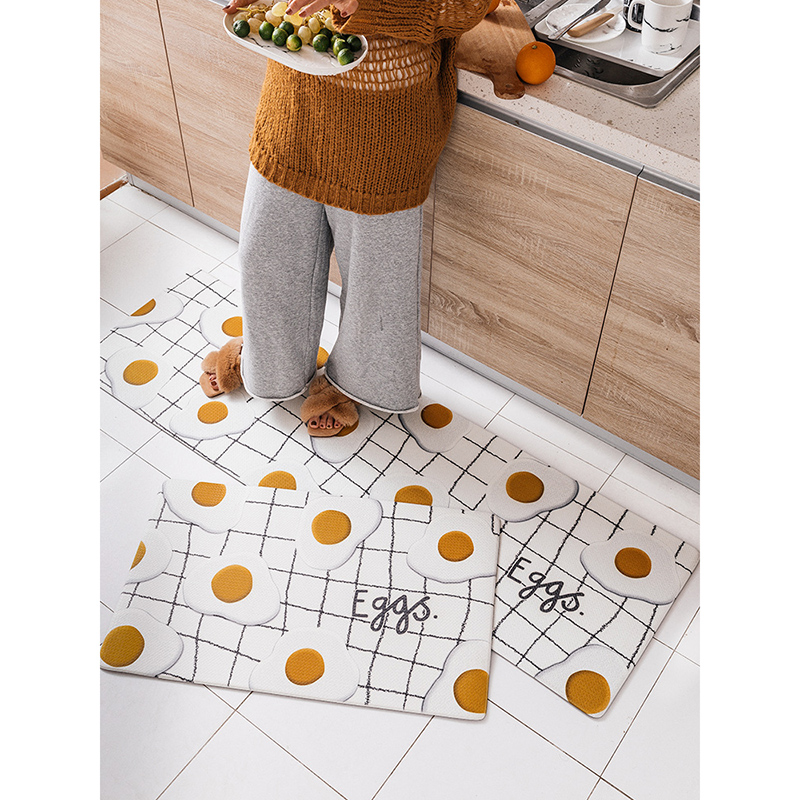 Tapis de cuisine en cuir PVC Design oeuf confortable antidérapant résistant à l'huile lavable Durable tapis de zone porte tapis couloir/entrée tapis de ménage
