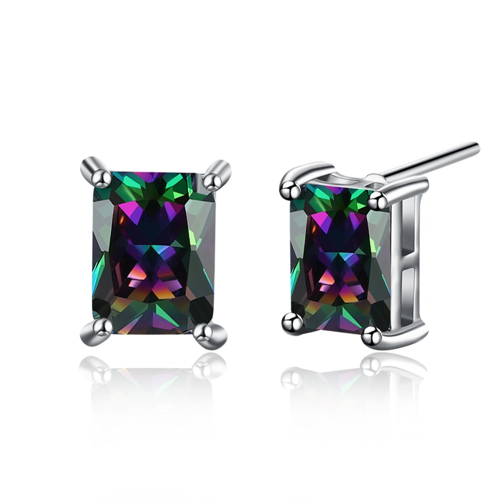 Colored Zircon Square Stud Earrings Silver Color Womens Fashion