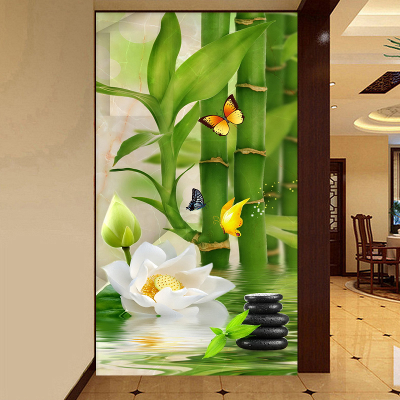 Custom 3D Wallpaper Chinese Style Bamboo Flowers Landscape Mural Wallpaper Living Room Hotel Entrance 3D Backdrop Wall Painting