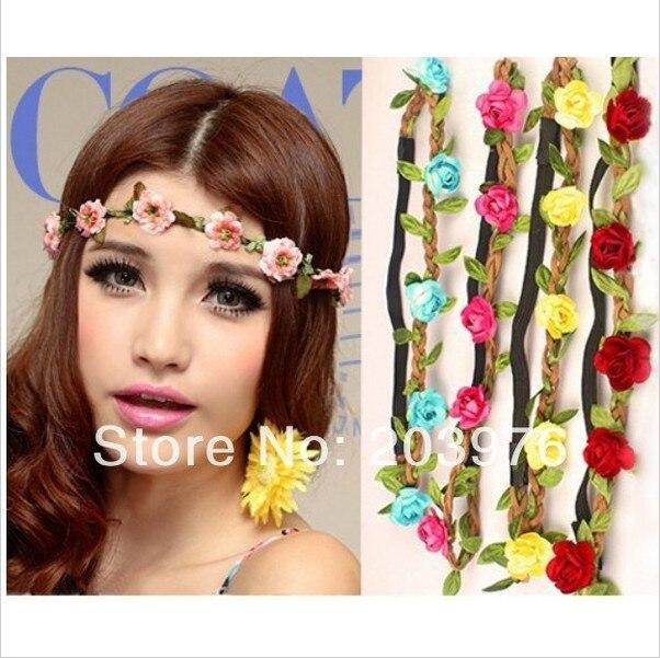 Bridal hair accessory Lady Girl Floral Flower Headband Crown Festival Bride  Wedding Garland Forehead Hair Ornaments For Women 46b1be0141b