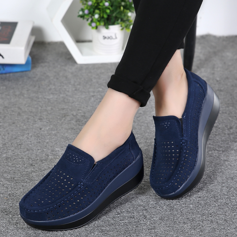 2019 Spring Women Shoes Platform Flats Sneakers Women Suede Leather Women Casual Shoes Slip On Flats Heels Creepers Moccasins(China)