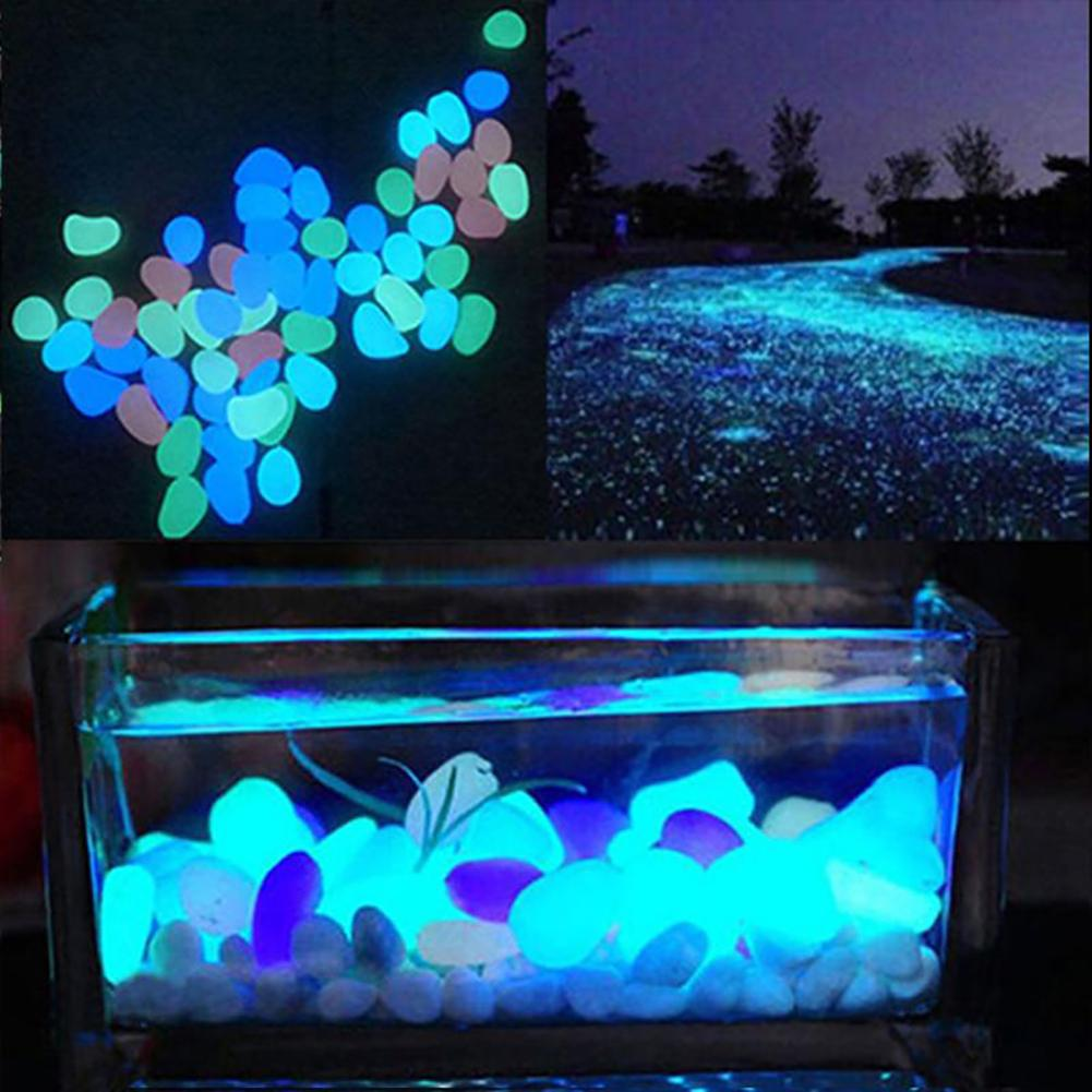 HOT SALE! 10Pcs Color Luminous Glowing Artificial Stone Aquarium Fish Tank Bonsai Garden Decor Glow In The Dark Pebbles Stones