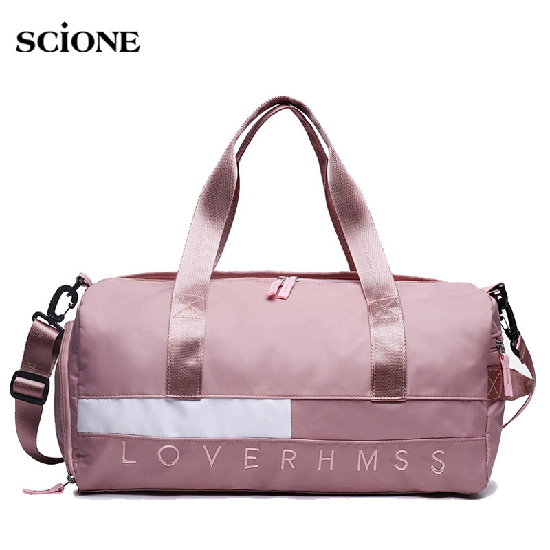 Fitness Gym Bags Women Men Training Letter Printed Handbag Travel Tote Sack Weekend Luggage Bag Sac Sport Gymnastics XA772WA