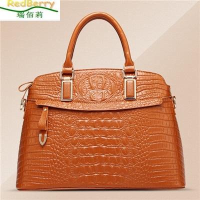 ФОТО 2015 New Genuine Leather Handbags Tote Fashion Ladies Solid Shoulder Messenger Bags Alligator Texture Women Bag bolsa femininas