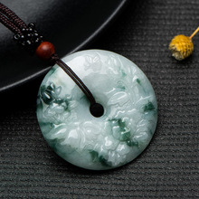 Natural Green Jade  Carving Peace Buckle Round pendant For Men and Women Fine Jewelry
