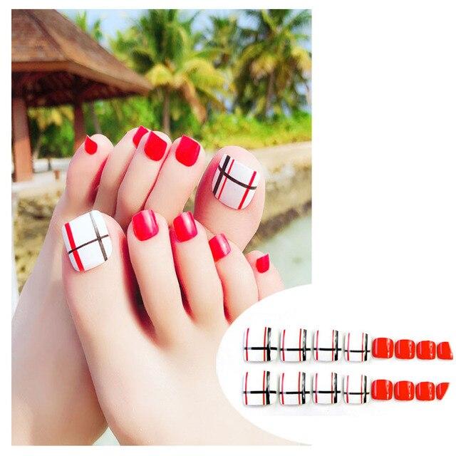 24 Pcs/Set Fake Toenails Design Short Square Wear False Nail Feet ...