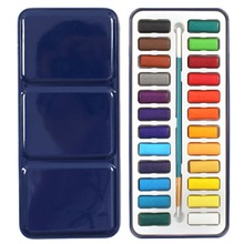 NEW Colors Portable Tin Box Solid Watercolor Paints Set For Artist School Student Drawing Painting Stationery Art Supplies 21.