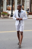 Summer Casual Men Suit White Male Blazer With Short Pants Fashion Beach Wedding Party Prom Suit Men 2 Pieces Ternos Masculinos