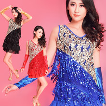 2017 Salsa Fringe Plus Size Latin Dancewear with Sequins Tassels Latin Dance Skirt Ballroom Rumba Dresses Feather Dance Costumes