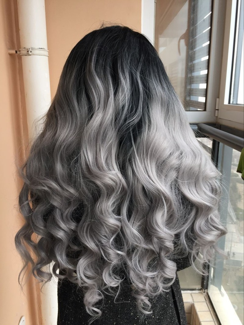 high quality silver grey body wave wig with dark roots natural black gray 2t ombre synthetic. Black Bedroom Furniture Sets. Home Design Ideas