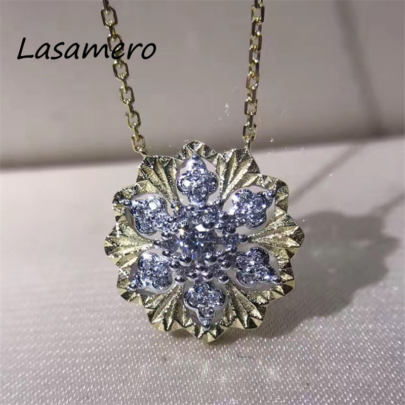 0.05 CT 18k Yellow Gold Round Cut Center Pave Set Natural Diamond Pendant Necklace Fashion Necklace for Women